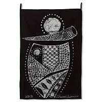 Batik wall hanging, 'Along with Music' - Batik wall hanging