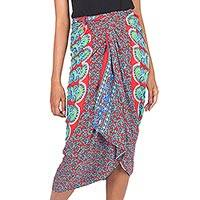 Rayon sarong, 'Red Sunrise' - Deer and Elephant Floral Pattern Sequined Rayon Sarong