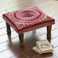 Embroidered cotton ottoman, 'Peaceful Mandala' - Cotton Embroidered Foot Stool