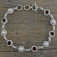Cultured pearl and garnet link bracelet, 'Petite Flowers' - Sterling Silver Bracelet with Garnet and Cultured Pearls