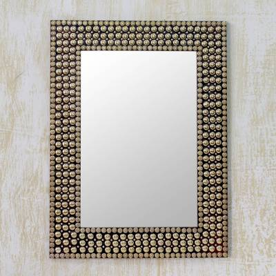 Mirror, 'Golden Staccato' - Hand-crafted Brass Stud Mosaic Wall Mirror from India