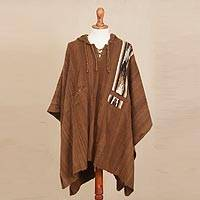 100% alpaca poncho, 'Andean Highland' - Hand Crafted Alpaca Wool Patterned Poncho from Peru