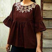 Cotton blouse, 'Chocolate Chic' - Brown Cotton Blouse