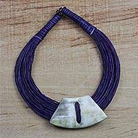 Leather and bone statement necklace, 'Sunooga' - Ghanaian Dark Blue Leather and Bone Statement Cord Necklace
