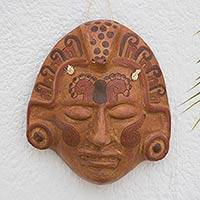 Ceramic mask, 'Maya Crocodile Priest' - Archaeological Ceramic Wall Mask