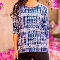 Cotton blouse, 'Stylish Plaid' - Blue and Purple Plaid Three Quarter Sleeve Cotton Blouse