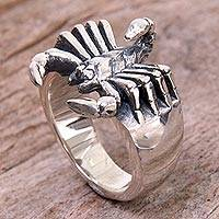 Sterling silver cocktail ring, 'Proud Scorpion' - Balinese Handcrafted Sterling Silver Scorpion Ring