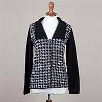 100% alpaca sweater jacket, 'Distinguished Beauty' - Black and Eggshell Women's Alpaca Knit Jacket with 2 Pockets