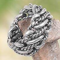 Men's band ring, 'Last Hero' - Hand Crafted Sterling Silver Ring with Twisted Chain Motif