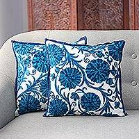 Embroidered cushion covers, 'Blue Dahlias' (pair) - Blue Floral Embroidered Cushion Covers from India (pair)
