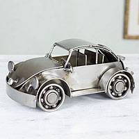 Iron sculpture, 'Rustic Vintage Car' - Mexico Handmade Recycled Auto Parts Metal Vintage Beetle