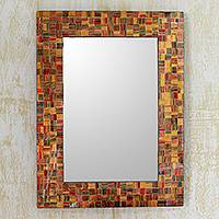 Glass mosaic wall mirror, 'Sunset Flare' - Unique Glass Mosaic Tile Wall Mirror from India Artisan