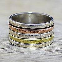 Sterling silver meditation spinner ring, 'Sleek Simplicity' - Simple Sterling Silver Copper and Brass Indian Spinner Ring