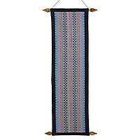 Cotton wall hanging, 'Thai Blossom' - Hand Woven Blue and Purple Floral Thai Wall Hanging