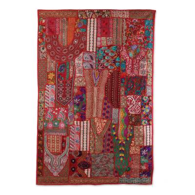 Patchwork wall hanging, 'Garden World' - Recycled Patchwork Floral Wall Hanging in Tomato from India