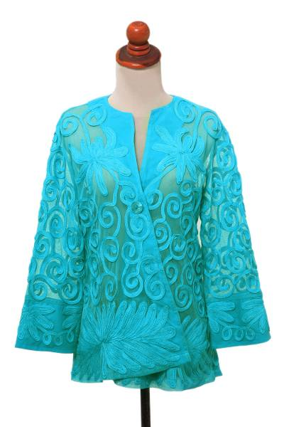 Floral Swirl Embroidered Sheer Turquoise Jacket
