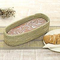 Bread warmer basket, 'Leafy Joy' - Ceramic Bread Warmer with Natural Fiber Basket