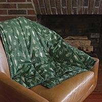 Quilted bison fiber blend throw blanket, 'Cozy Hearth' - Quilted Bison-Blend Fill Throw Blanket