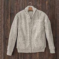 Mens Shawl Collar Plush-Lined Sweater Jacket