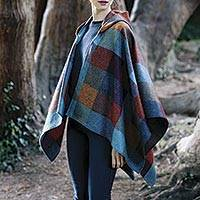 Lambswool tweed hooded cape, 'Avoca Village' - Multicolored Donegal Tweed Plaid Lambswool Hooded Cape