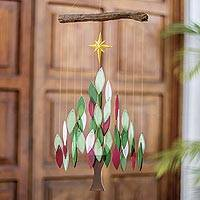 Glass wind chime, 'Sounds of the Season' - Glass Christmas Tree Wind Chime