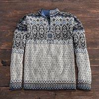 Men's 100% alpaca sweater, 'Tarabuco Market' - Men's Blue Patterned Alpaca Sweater