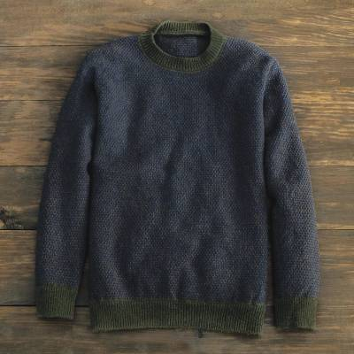 Men's wool crew sweater, 'Birdseye' - Brown Irish Birdseye Lambswool Crew Sweater