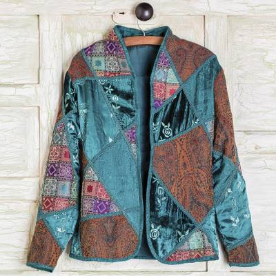 Embroidered Silk Blend Patchwork Jacket