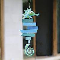 Glass suncatcher, 'Seahorse' - Green and Blue Glass Seahorse Suncatcher