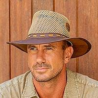 Mens leather and cotton safari hat, Rogue