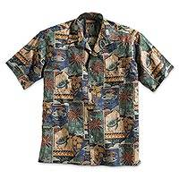 Mens cotton travel shirt, Aloha