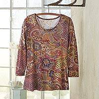 Rayon jersey travel top, 'Perfect Paisley' - Women's Rayon Jersey Paisley Travel Shirt