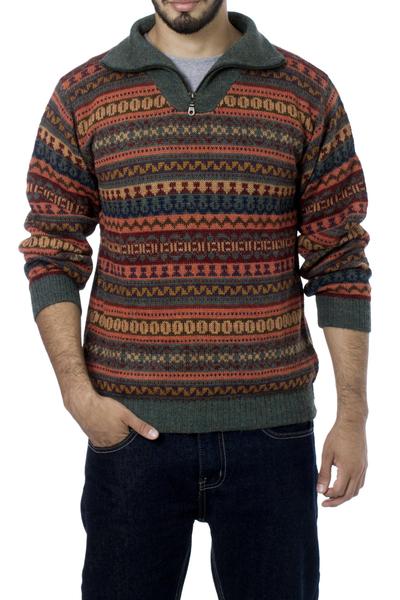 Men's 100% alpaca sweater, 'Mountain Sunset' - Men's Fair Trade Alpaca Art Knit Pullover Sweater