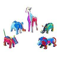 Recycled flip-flop sculptures 'Safari' (small, set of 5) - Set of 5 Small Safari Animal Recycled Flip-Flop Sculptures