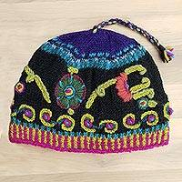 Wool hat, 'Black Kathmandu' - Women's Hand Embroidered Wool Hat