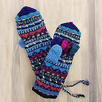 Wool convertible mittens, 'Black Kathmandu' - Women's Wool Convertible Mittens from Nepal