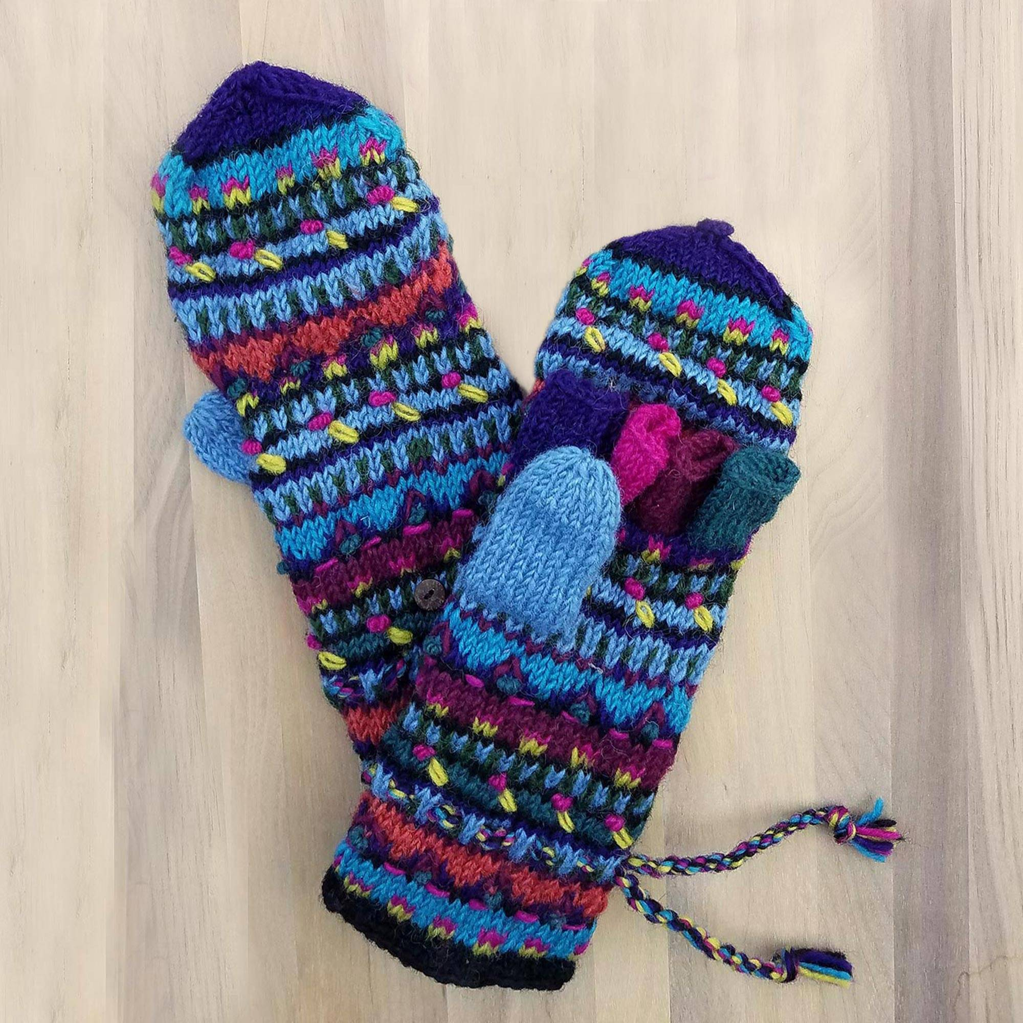 New Fair Trade Soft Merino Wool Hand Made Warm Winter Gloves From Nepal