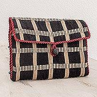 Cotton jewelry case, 'Ebony Chic' - Guatemalan Fabric Jewelry Roll