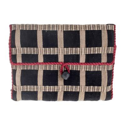 Cotton jewelry case, 'Ebony Chic' - Cotton Travel jewellery Roll
