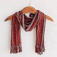 Cotton scarf, 'Crimson Mystique' - Cotton scarf