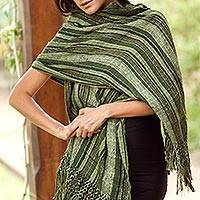 Cotton shawl, 'Green Hope' - Cotton shawl