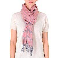 Cotton scarf, 'Autumnal Memoirs' - Cotton scarf