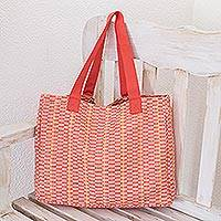 Cotton tote, 'Salmon Honeycomb' - Cotton Patterned Tote Handbag from Central America