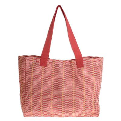 Novica Cotton tote, Salmon Honeycomb - Cotton Patterned Tote Handbag from Central America