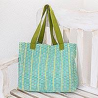 Cotton tote, 'Emerald Honeycomb' - Guatemala Handwoven Maya Cotton Tote Bag in Green