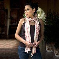 Cotton scarf, 'Salmon Checks' - Cotton scarf