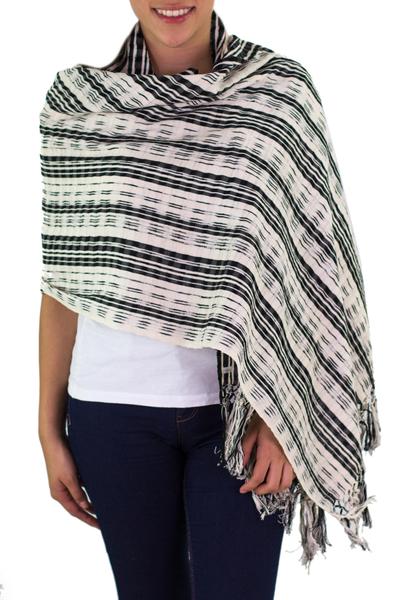 Cotton shawl, 'Day to Night' - Handwoven Artisan Cotton Shawl