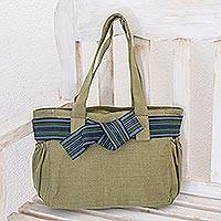 Cotton tote, 'Maya Jade' - Fair Trade Cotton Shoulder Bag Hand Loomed in Guatemala