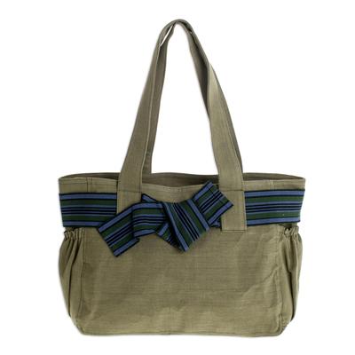 Cotton tote, 'Maya Jade' - Fair Trade Cotton Shoulder Bag Hand Loomed in Guatemala
