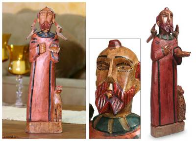 Handmade Religious Wood Statue Sculpture Saint Francis Of Assisi
